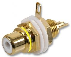 PRO SIGNAL AV19335  Chassis Socket, Phono/Rca, Gold/Yellow